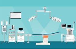 Ιατρική λειτουργία χειρουργικών επεμβάσεων νοσοκομείων με το ιατρικό εξοπλισμό διανυσματική απεικόνιση