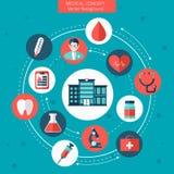 Ιατρική επίπεδη διανυσματική έννοια με το νοσοκομείο Στοκ εικόνες με δικαίωμα ελεύθερης χρήσης