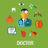 Ιατρική επίπεδη infographic έννοια Στοκ φωτογραφία με δικαίωμα ελεύθερης χρήσης