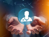 Ιατρική και γενικό εικονίδιο υγειονομικής περίθαλψης που επιδεικνύονται σε μια τεχνολογία ι Στοκ φωτογραφία με δικαίωμα ελεύθερης χρήσης