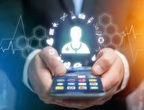 Ιατρική και γενικό εικονίδιο υγειονομικής περίθαλψης που επιδεικνύονται σε μια τεχνολογία ι Στοκ φωτογραφίες με δικαίωμα ελεύθερης χρήσης