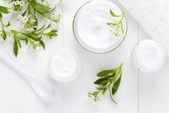 Ιατρική καλλυντική κρέμα θεραπείας με το βοτανικό προϊόν skincare λουλουδιών υγιεινό Στοκ φωτογραφία με δικαίωμα ελεύθερης χρήσης