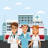 Ιατρική ομάδα στο νοσοκομείο διανυσματική απεικόνιση