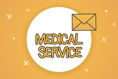 Ιατρική υπηρεσία κειμένων γραφής Έννοια που σημαίνει κάνοντας την ιατρική υποστήριξη για να μεταχειριστεί την ασθένεια και τους τ απεικόνιση αποθεμάτων