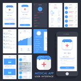 Ιατρική App UI, UX και GUI εξάρτηση Στοκ Εικόνες