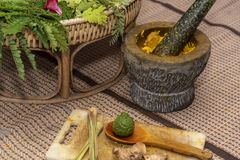 Ιατρική Ayurvedic, η κατασκευή των βοτανικών τσαντών για το μασάζ 2019 στοκ φωτογραφίες