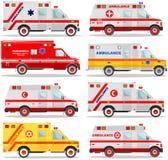 ΙΑΤΡΙΚΗ έννοια Διαφορετικά καλά εβραϊκά, μουσουλμανικά, αμερικανικά, ευρωπαϊκά ασθενοφόρα αυτοκινήτων που απομονώνονται στο άσπρο Στοκ Φωτογραφίες