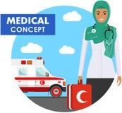 ΙΑΤΡΙΚΗ έννοια Λεπτομερής απεικόνιση της αραβικής μουσουλμανικής γυναίκας γιατρών έκτακτης ανάγκης σε ομοιόμορφο στο υπόβαθρο με  Στοκ φωτογραφία με δικαίωμα ελεύθερης χρήσης