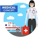 ΙΑΤΡΙΚΗ έννοια Λεπτομερής απεικόνιση της γυναίκας γιατρών έκτακτης ανάγκης σε ομοιόμορφο στο υπόβαθρο με το αυτοκίνητο ασθενοφόρω Στοκ Φωτογραφία
