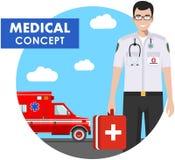 ΙΑΤΡΙΚΗ έννοια Λεπτομερής απεικόνιση του ατόμου γιατρών έκτακτης ανάγκης Στοκ φωτογραφία με δικαίωμα ελεύθερης χρήσης