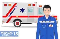 ΙΑΤΡΙΚΗ έννοια Λεπτομερής απεικόνιση του ατόμου γιατρών έκτακτης ανάγκης και του αυτοκινήτου ασθενοφόρων στο επίπεδο ύφος στο άσπ Στοκ φωτογραφία με δικαίωμα ελεύθερης χρήσης