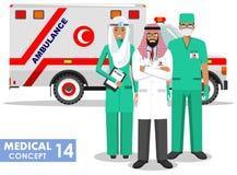 ΙΑΤΡΙΚΗ έννοια Λεπτομερής απεικόνιση του μουσουλμανικού παραϊατρικού ατόμου, του γιατρού έκτακτης ανάγκης, της νοσοκόμας και του  Στοκ εικόνα με δικαίωμα ελεύθερης χρήσης