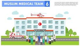 ΙΑΤΡΙΚΗ έννοια Λεπτομερής απεικόνιση του μουσουλμανικού αραβικού γιατρού Στοκ φωτογραφία με δικαίωμα ελεύθερης χρήσης