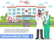 ΙΑΤΡΙΚΗ έννοια Λεπτομερής απεικόνιση του μουσουλμανικού αραβικού γιατρού, της νοσοκόμας, του ελικοπτέρου, του αυτοκινήτου ασθενοφ Στοκ Φωτογραφία