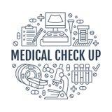 Ιατρικός έλεγχος επάνω στο πρότυπο αφισών Διανυσματικά επίπεδα εικονίδια γραμμών, απεικόνιση του ιατρικού κέντρου, εξοπλισμός υγε απεικόνιση αποθεμάτων