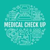 Ιατρικός έλεγχος επάνω στο πρότυπο αφισών Διανυσματικά επίπεδα εικονίδια γραμμών, απεικόνιση του κεντρικού εξοπλισμού υγειονομική ελεύθερη απεικόνιση δικαιώματος