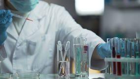 Ιατρικός αναλυτής που κάνει τη βιοχημική έρευνα των δειγμάτων αίματος στο εργαστήριό του απόθεμα βίντεο