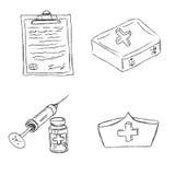 Ιατρικός, αντικείμενα, σκίτσο, διάνυσμα, απεικόνιση Στοκ Εικόνες