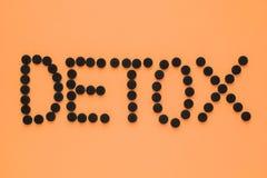 """Ιατρικός ενεργοποιημένος ξυλάνθρακας υπό μορφή επιγραφής """"detox σε ένα πορτοκαλί υπόβαθρο E στοκ φωτογραφία με δικαίωμα ελεύθερης χρήσης"""
