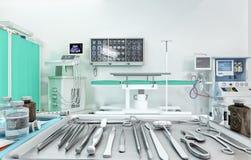 Ιατρικός εξοπλισμός, συσκευές στο σύγχρονο λειτουργούν δωμάτιο τρισδιάστατη απεικόνιση διανυσματική απεικόνιση
