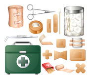Ιατρικός εξοπλισμός στο κιβώτιο πρώτων βοηθειών διανυσματική απεικόνιση