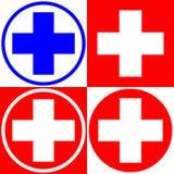 Ιατρικός σταυρός Σύνολο ιατρικών επιλογών συμβόλων διάνυσμα ελεύθερη απεικόνιση δικαιώματος