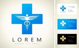Ιατρικός σταυρός υγείας και ιατρικό λογότυπο κηρυκείων απεικόνιση αποθεμάτων