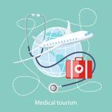 Ιατρικός τουρισμός Εικονίδιο του ταξιδιού και της επεξεργασίας διανυσματική απεικόνιση