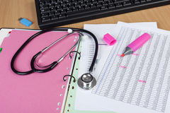 Ιατρικός υπολογιστής γραφείου εργαζομένων που παρουσιάζουν ststhoscope και κάποιο οικονομικό ρ Στοκ φωτογραφίες με δικαίωμα ελεύθερης χρήσης