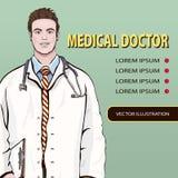 Ιατρικό έμβλημα, διανυσματικό υπόβαθρο με τον αρσενικό γιατρό που στέκεται την μπροστινή πλευρά, πορτρέτο τρία κινούμενων σχεδίων Στοκ Εικόνες