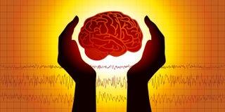 Ιατρικό διάγραμμα που παρουσιάζει δύο χέρια που προστατεύει έναν εγκέφαλο μπροστά από μια γραφική παράσταση που παρουσιάζει δραστ απεικόνιση αποθεμάτων