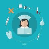 Ιατρικό επίπεδο εικονίδιο που τίθεται με τη νοσοκόμα, διανυσματικό σχέδιο Στοκ φωτογραφίες με δικαίωμα ελεύθερης χρήσης