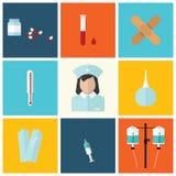 Ιατρικό επίπεδο εικονίδιο που τίθεται με τη νοσοκόμα, διανυσματικό σχέδιο Στοκ Φωτογραφίες