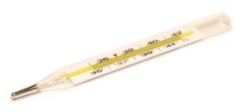 Ιατρικό θερμόμετρο σε ένα άσπρο υπόβαθρο Στοκ Εικόνες