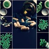 Ιατρικό κολάζ θέματος Πράσινο σύνολο χαπιών εικόνων που πυροβολούνται με το copyspace Στοκ Εικόνες