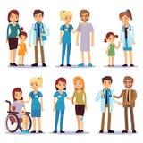 Ιατρικό προσωπικό με τους ασθενείς Νοσοκόμες και γιατροί με τους άρρωστους διανυσματικούς χαρακτήρες κινουμένων σχεδίων προσώπων  διανυσματική απεικόνιση