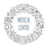 Ιατρικό πρότυπο αφισών Διανυσματική απεικόνιση γραμμών του ιατρικού κέντρου, έλεγχος υγείας επάνω Ιατρικός εξοπλισμός - mri ελεύθερη απεικόνιση δικαιώματος