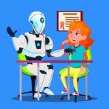 Ιατρικό ρομπότ που μεταχειρίζεται ένα υπομονετικό διάνυσμα απομονωμένη ωθώντας s κουμπιών γυναίκα έναρξης χεριών απεικόνιση διανυσματική απεικόνιση