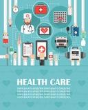 Ιατρικό σε απευθείας σύνδεση επίπεδο σχέδιο κλήσης το ασθενοφόρο, το νοσοκομείο, και το γιατρό που απομονώνεται με lorem το ipsum απεικόνιση αποθεμάτων