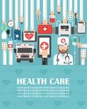 Ιατρικό σε απευθείας σύνδεση επίπεδο σχέδιο με το γιατρό και το ασθενοφόρο διανυσματική απεικόνιση