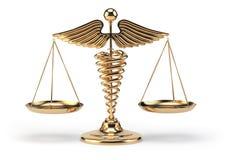 Ιατρικό σύμβολο κηρυκείων ως κλίμακες Έννοια της ιατρικής και του justi διανυσματική απεικόνιση