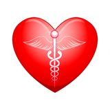 Ιατρικό σύμβολο στην καρδιά διανυσματική απεικόνιση