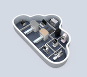 Ιατρικό σύστημα απεικόνισης και κεντρικός υπολογιστής PACS, τρισδιάστατος εκτυπωτής στο εμπορευματοκιβώτιο μορφής σύννεφων Στοκ εικόνες με δικαίωμα ελεύθερης χρήσης