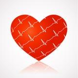 Ιατρικό υπόβαθρο - κόκκινη καρδιά με τα σύμβολα ekg απέναντι Ελεύθερη απεικόνιση δικαιώματος
