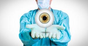 Ιατρικό υπόβαθρο με το γιατρό και το μάτι Στοκ φωτογραφίες με δικαίωμα ελεύθερης χρήσης