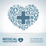 Ιατρικό υπόβαθρο υγειονομικής περίθαλψης, εικονίδια κύκλων για να γίνει καρδιά Στοκ Εικόνες