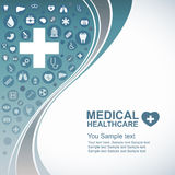 Ιατρικό υπόβαθρο υγειονομικής περίθαλψης, εικονίδια κύκλων για να γίνει καρδιά και γραμμή κυμάτων Στοκ Φωτογραφίες
