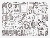 Ιατρικό υπόβαθρο Doodle Στοκ Φωτογραφίες
