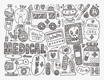 Ιατρικό υπόβαθρο Doodle Στοκ Εικόνα