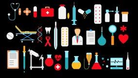Ιατρικό φαρμακευτικό μεγάλο σύνολο ιατρικών στοιχείων, εξοπλισμός, εικονίδια σε ένα μαύρο υπόβαθρο: φιάλες καψών θερμομέτρων χαπι διανυσματική απεικόνιση